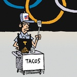 Thumbnail image for Tacos al carbon, gold, silver, bronze, chicken and beef (toon)