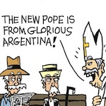 Thumbnail image for La Cucaracha: Argentinians humbled by humble new Pope (toon)