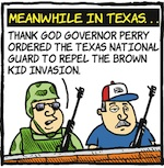 Thumbnail image for La Cucaracha: TX militias will save the border because Alamo (toon)