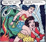 Thumbnail image for Wonder Woman and Marya la Giant fight Mexibandidos (1945 toon)