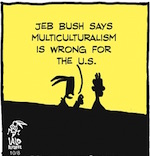 Thumbnail image for La Cucaracha: Where does Jeb! Bush stand, exactly? (toon)