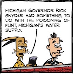 Thumbnail image for La Cucaracha: Testing the tap water in Flint, Michigan (toon)