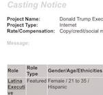Thumbnail image for Casting Call: Latina actress to play Donald Trump's assistant (photo)